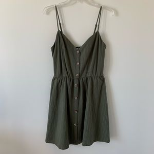 Olive Green & White Striped Button Front Dress